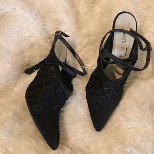 Charles Jourdan Pointy Toe Ankle Tie Mules